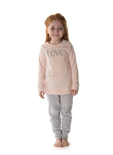 Hays Kız Çocuk Kadife 2li Uzun Pijama Takımı Pembe